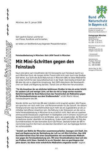 Mit Mini-Schritten gegen den Feinstaub: Kein ... - Bund Naturschutz