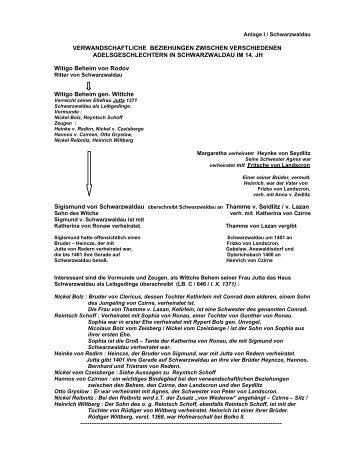 Verwandtschaftliche Beziehungen zwischen ... - Böhm-Chronik