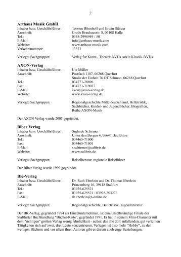 Arthaus Musik GmbH AXON-Verlag Biber Verlag BK-Verlag
