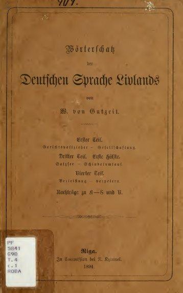 Wörterschatz der deutschen Sprache Livlands : Nachträge