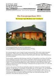 Das Energiesparhaus 2011: - Blockhaus Barth