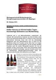 Heißer Genuss an klirrend kalten Tagen - Weinland Württemberg