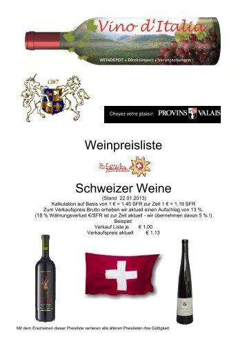 Preisliste · Endkunden · Wein/Schweiz - Vino d'Italia Weindepot