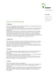 Allgemeine Geschäftsbedingungen - Thamm