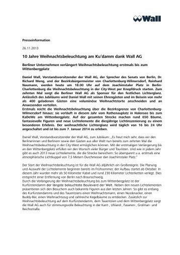 10 Jahre Weihnachtsbeleuchtung am Ku'damm dank Wall AG