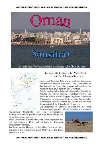 Detailprogramm für die Reise: Oman & Sansibar - Joe Far Tours