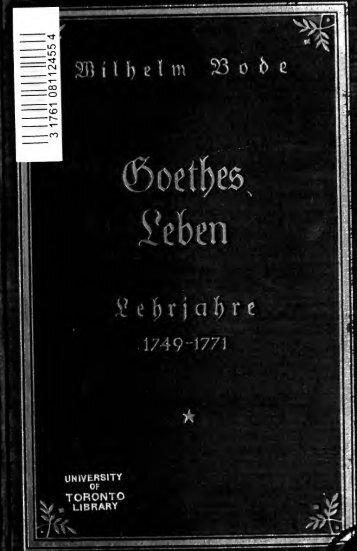 Goethes Leben