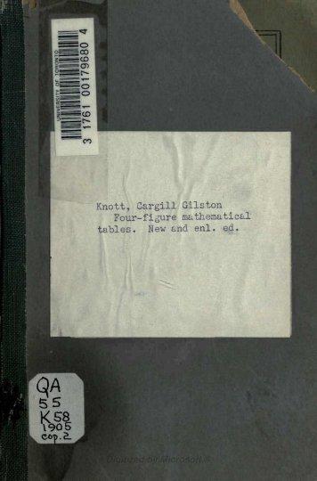 Knott, Cargill Gilston Four-figure mathematical tables.