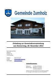 Einladung zur Gemeindeversammlung - Gemeinde Zumholz