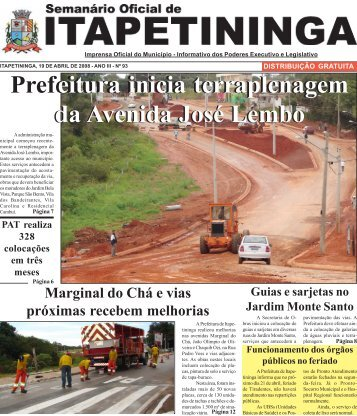 Prefeitura inicia terraplenagem da Avenida José Lembo eitura inicia ...