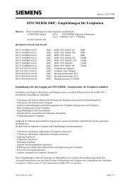SINUMERIK 840C: Empfehlungen für Festplatten - Siemens