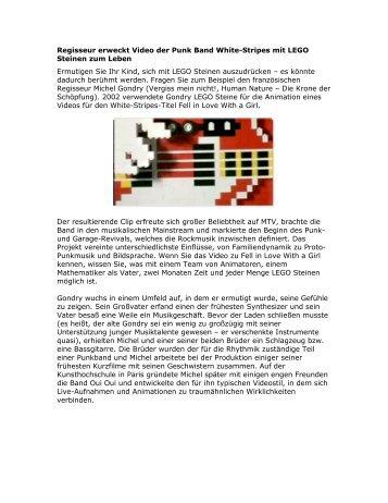 Regisseur erweckt Video der Punk Band White-Stripes mit LEGO ...