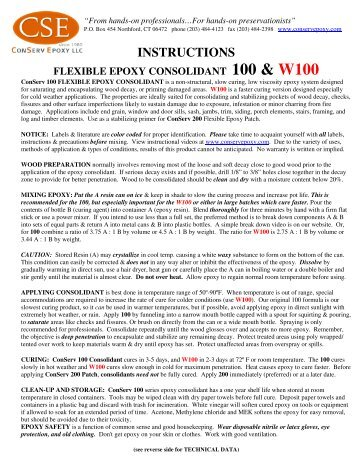 Instructions and Technical Data - Conserv Epoxy LLC