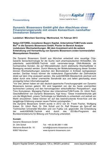 Dynamic Biosensors GmbH gibt den Abschluss ... - Bayern Kapital