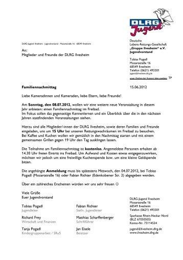 Familiennachmittag 12 Einladung - DLRG Gruppe Ilvesheim eV