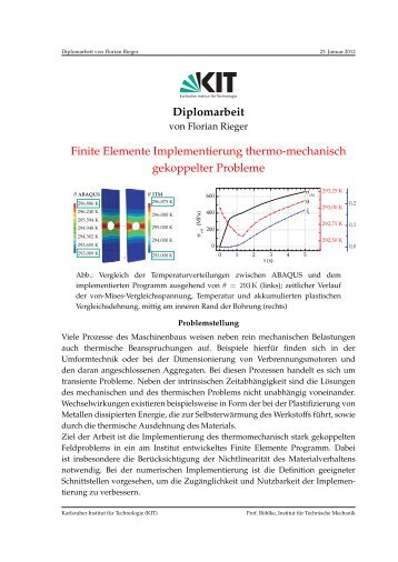 Finite Elemente Implementierung thermo-mechanisch gekoppelter ...