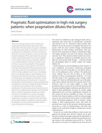 Pragmatic fluid optimization in high-risk surgery patients: when ...