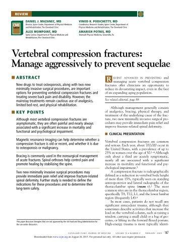 Vertebral compression fractures - Cleveland Clinic Journal of Medicine