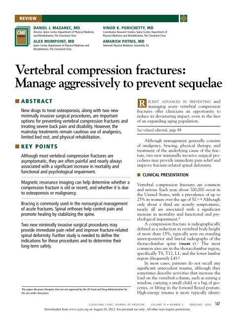Vertebral Compression Fractures Cleveland Clinic Journal Of Medicine