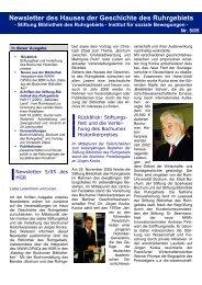 Newsletter des Haus der Geschichte des Ruhrgebiets