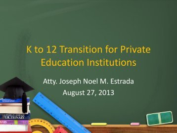 K to 12 Transition for PEIs