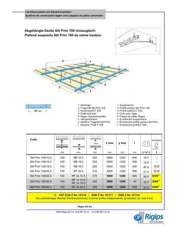 Abgehängte Decke Stil Prim 100 niveaugleich Plafond ... - Rigips