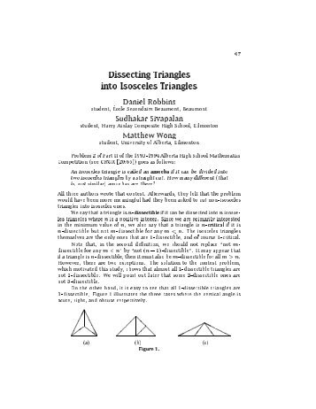 Dissecting Triangles into Isosceles Triangles - Canadian ...