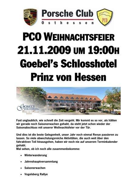 Weihnachtsfeier Hessen.21 11 2009 Um 19 00h Goebel S Schlosshotel Prinz Von Hessen