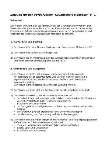 "Satzung für den Förderverein ""Grundschule Mohsdorf"" e. V."