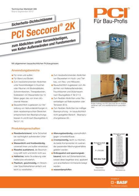 Sicherheits-Dichtschlämme PCI Seccoral ® 2K - PCI-Augsburg GmbH