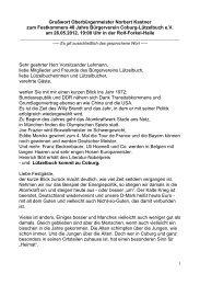 26.05.2012 Festkommers 40 Jahre Bürgerverein Coburg-Lützelbuch ...