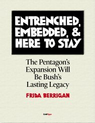 The Pentagon's Expansion Will Be Bush's Lasting Legacy - ColdType