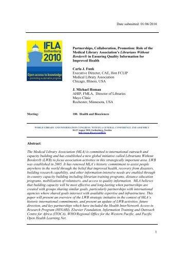 Partnerships, collaboration, promotion - IFLA Congresses