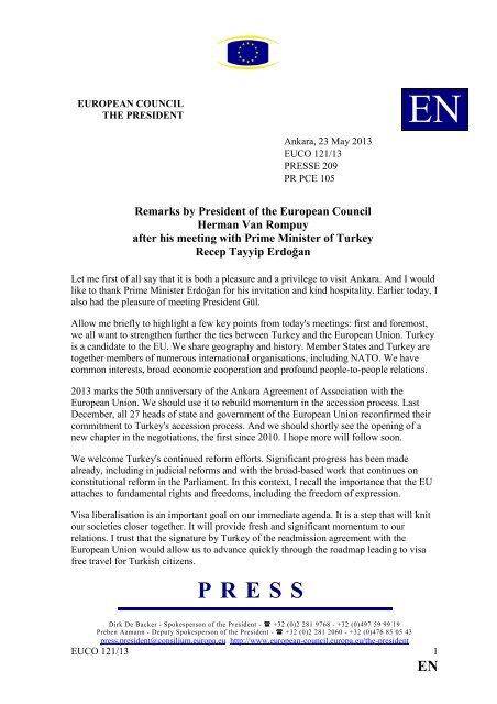 Remarks by President Herman Van Rompuy after his ... - Europa