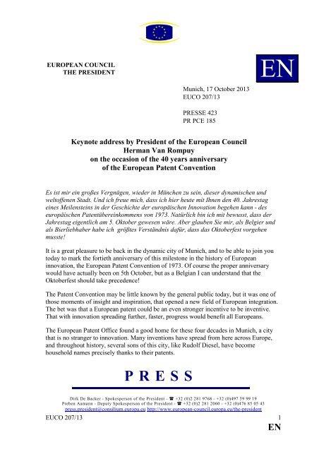 Keynote address by President Herman Van Rompuy on - Rat der ...