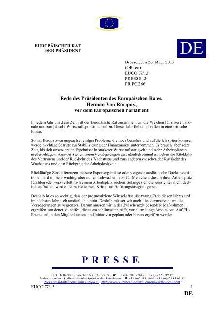 PRESSE - Rat der Europäischen Union - Europa