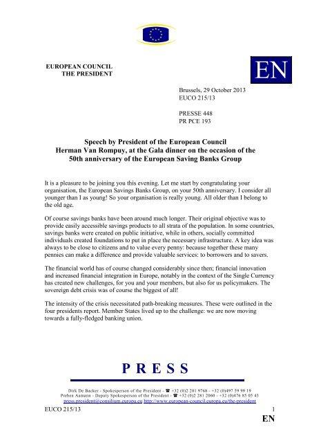 Herman Van Rompuy President of the European Council ... - Europa