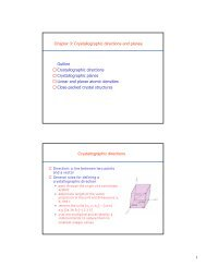 1 Chapter 3: Crystallographic directions and planes Outline ...