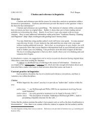 Citation and reference in linguistics - University of Washington