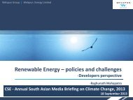 Renewable Energy – policies and challenges