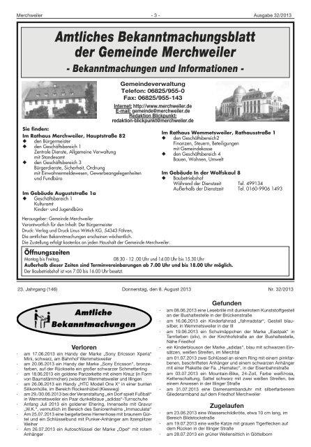 Amtliches Bekanntmachungsblatt der Gemeinde Merchweiler