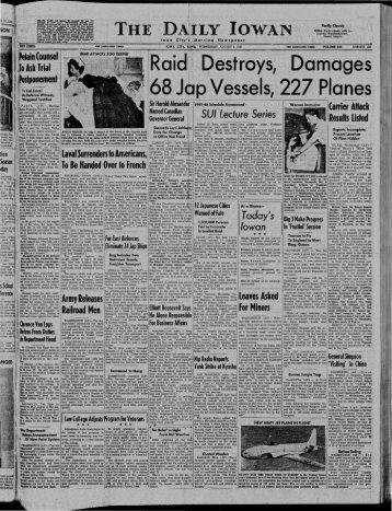 August 1 - The Daily Iowan Historic Newspapers - University of Iowa