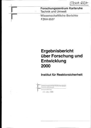 Ergebnisbericht über Forschung und Entwicklung 2000 - Bibliothek
