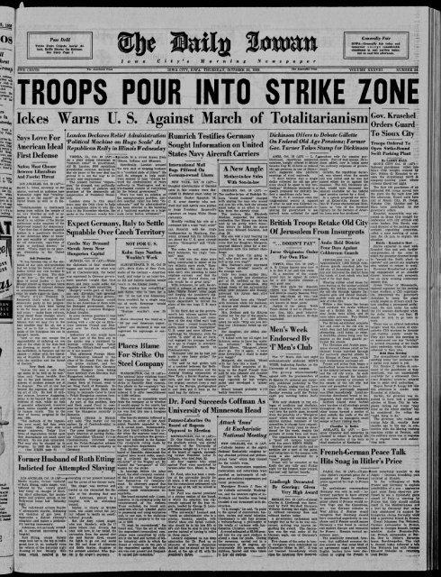 Iowa City Iowa 1938 10 20 The Daily Iowan Historic