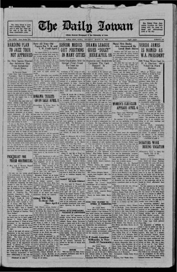 March 29 - The Daily Iowan Historic Newspapers - University of Iowa