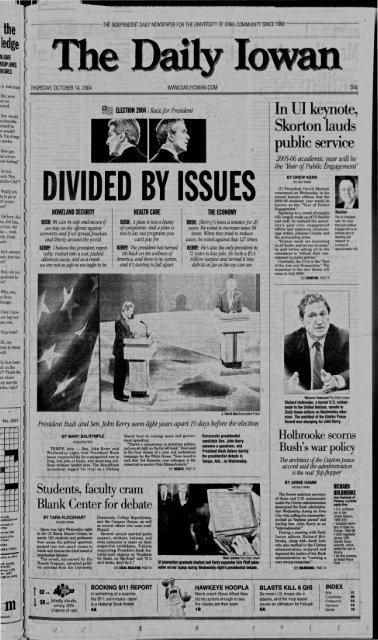October 14 The Daily Iowan Historic Newspapers University Of Iowa