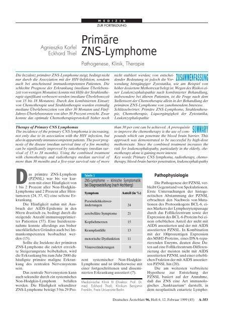 Primäre ZNS-Lymphome