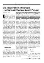 Die postzosterische Neuralgie – weiterhin ein therapeutisches ...