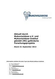 Liste geförderter Projekte (PDF) - Mukoviszidose e.V.
