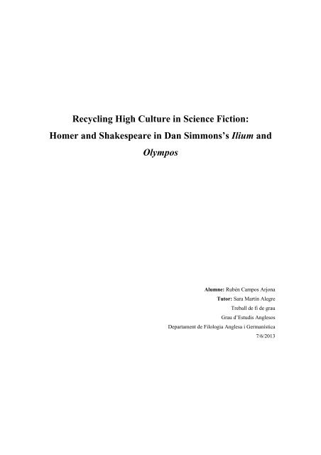 Recycling High Culture in Science Fiction - DDD - Universitat ...